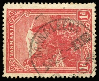 Lot 1243:Kanna Leena: (B2) largely fine and largely complete Type 3 1912 'KANNA-LEENA' strike on 1d Pictorial, [Rated 3R].  PO 1/4/1912; closed 30/11/1912.