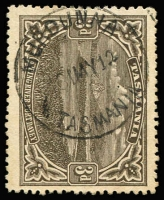 Lot 1248:Murdunna: (A1) fine and complete Type 2 '16MY12' strike on 3d brown Pictorial, [Rated RR+].  RO 1/6/1910; PO c.1918; closed 15/9/1969.