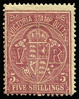 Lot 405 [2 of 4]:1884-99 Existing Stamp Duty Mint Group comprising 1884-96 4/- orange-red P13 SG #238 (regummed), 5/- claret/yellow P12½ #260b, 4/- yellow-orange #269a, and 3/- olive-drab #345, generally fine, Cat £500+. (4)