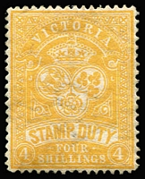 Lot 405 [3 of 4]:1884-99 Existing Stamp Duty Mint Group comprising 1884-96 4/- orange-red P13 SG #238 (regummed), 5/- claret/yellow P12½ #260b, 4/- yellow-orange #269a, and 3/- olive-drab #345, generally fine, Cat £500+. (4)
