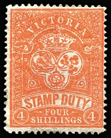 Lot 405 [1 of 4]:1884-99 Existing Stamp Duty Mint Group comprising 1884-96 4/- orange-red P13 SG #238 (regummed), 5/- claret/yellow P12½ #260b, 4/- yellow-orange #269a, and 3/- olive-drab #345, generally fine, Cat £500+. (4)