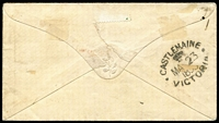 "Lot 382 [2 of 2]:1855 (Jan 1) cover used locally at Forest Creek franked with Half-Lengths Campbell & Fergusson 1d bright lilac-rose SG #28b x2 [Pos 18 - both units - from stone 4/5, ninth printing] tied by Barred Oval '37' cancel, fine 'ADVERTISED/AND/UNCLAIMED' handstamp in red, unclaimed mss ""149"" marking at left, on reverse 'CASTLEMAINE/(crown)/VICTORIA' backstamp. Rare and desirable. Ex RA Perry."