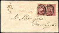 "Lot 382 [1 of 2]:1855 (Jan 1) cover used locally at Forest Creek franked with Half-Lengths Campbell & Fergusson 1d bright lilac-rose SG #28b x2 [Pos 18 - both units - from stone 4/5, ninth printing] tied by Barred Oval '37' cancel, fine 'ADVERTISED/AND/UNCLAIMED' handstamp in red, unclaimed mss ""149"" marking at left, on reverse 'CASTLEMAINE/(crown)/VICTORIA' backstamp. Rare and desirable. Ex RA Perry."