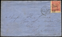 "Lot 1292 [3 of 6]:1866-72 Laureate Frankings all sent from Melbourne comprising [1] 1866 to Woolsthorpe (Vic) with 4d Laureate tied by 'H' code duplex, Warrnambool transit & Woolsthorpe arrival backstamps; [2] 1871 to France with 1/- tied by 'L' code duplex, Arbois arrival backstamp, cover aged with tear & missing backflap; [3] 1872 to Scotland ""Pr RMS Baroda"" with 6d Laureate tied by 'Y' code duplex, Edinburgh arrival backstamp. (3)"