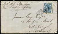 "Lot 1292 [1 of 6]:1866-72 Laureate Frankings all sent from Melbourne comprising [1] 1866 to Woolsthorpe (Vic) with 4d Laureate tied by 'H' code duplex, Warrnambool transit & Woolsthorpe arrival backstamps; [2] 1871 to France with 1/- tied by 'L' code duplex, Arbois arrival backstamp, cover aged with tear & missing backflap; [3] 1872 to Scotland ""Pr RMS Baroda"" with 6d Laureate tied by 'Y' code duplex, Edinburgh arrival backstamp. (3)"