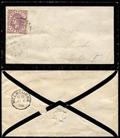 Lot 421 [2 of 4]:1873-88 Covers Group with [1] 1873 Batesford to Gladstone (Qld) with 3d orange Laureates x2 tied BN '118' cancels, Batesford, Geelong, Melbourne & Gladstone backstamps; [2] 1878 South Yarra mourning cover to Pentridge, and [3] 1888 Melbourne local cover; also [2] WA 1907 Albany PPC ('Dog Rock') to Adelaide. (4)