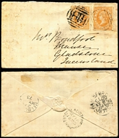 Lot 421 [1 of 4]:1873-88 Covers Group with [1] 1873 Batesford to Gladstone (Qld) with 3d orange Laureates x2 tied BN '118' cancels, Batesford, Geelong, Melbourne & Gladstone backstamps; [2] 1878 South Yarra mourning cover to Pentridge, and [3] 1888 Melbourne local cover; also [2] WA 1907 Albany PPC ('Dog Rock') to Adelaide. (4)
