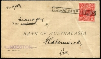 Lot 1299 [3 of 4]:1878-1910 Used From Melbourne Array mostly Postal Stationery including 1878 & 1880 local use of 1d Postal Cards, 1885 ½d dark salmon Wrapper Stieg #E7 used to Ceres (Vic), 1896 use of 1d blue Wrapper #E19 to Germany, 1910 use of 1d vermilion Wrapper #E26 to London, plus four other wrappers; also two PPCs showing Melbourne GPO and a 1932 inter-bank cover from Launceston to Melbourne with KGV 2d red tied by complete 'LOOSE SHIP LETTER' handstamp. (12)