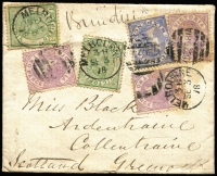 Lot 1298 [1 of 2]:1878 (Sep 3) cover to Scotland via Brindisi with 1/2d tri-colour franking comprising six stamps affixed in various orientations tied by Melbourne duplex cancels, Greenock arrival backstamp. Quite extraordinary!
