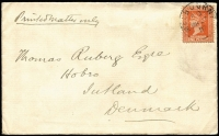 "Lot 1300:1897 (Mar 23) D&W Gibb (wool merchants, Melbourne) cover to Denmark endorsed ""Printed Matter only"" with 1d orange-brown solo tied by Melbourne datestamp, unsealed flap, very good condition."