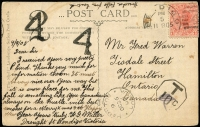Lot 796 [1 of 2]:1905 (Sep 11) PPC (Myers Falls, Healesville) to Canada with 1d pink tied by Bendigo duplex, octagonal tax handstamp scored-through in pencil, Canadian due markings but no stamps added, Hamilton arrival datestamp.
