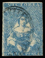 Lot 1252:1850-53 Half-Length Ham Altered 3rd State 3d blue 'White Veils' SG #14 [Pos 4] SG #14, close to touching margins, lightly struck Barred Oval cancel, Cat £80.