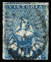 Lot 1253:1850-53 Half-Length Ham Altered 3rd State 3d blue 'White Veils' SG #14 just shaved at base otherwise very good margins with fragment of adjoining stamp at top, strong colour, barred oval cancel, Cat £80.