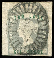 Lot 1317:1854-55 Imperf Calvert Woodblocks 6d Too Late lilac & green SG #33, large margins on three sides (close at base), trivial minute thin in upper left margin, Barred Oval '2' cancel of Geelong, Cat £250.
