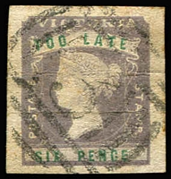 Lot 1320:1854-55 Imperf Calvert Woodblocks 6d Too Late lilac & green SG #33, small thin at top & two flattened (sharp) creases, four good to large margins, BN '3' cancel of Castlemaine, Cat £250.