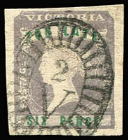 Lot 1287:1854-55 Imperf Calvert Woodblocks 6d 'TOO LATE' lilac & green SG #33, good to very good margins, Barred Oval '2' cancel of Geelong. Cat £250. Fine example.