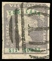 Lot 895:1854-55 Imperf Calvert Woodblocks 6d 'TOO LATE' lilac & green SG #33, close to very good margins, BN '1' cancel of Melbourne, expertising handstamps on reverse. Cat £250.