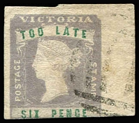 Lot 1289:1854-55 Imperf Calvert Woodblocks 6d 'TOO LATE' lilac & green SG #33, just cut-into at base, huge sheet-edge margin at right, lightly struck BN '1' cancel. Cat £250. Fine example.