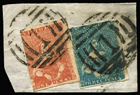Lot 1254:1854-57 Half-Length Campbell & Fergusson 1d brown [Pos 16] & 3d greenish-blue SG #26&29a tied to small piece by BN '1' cancels of Melbourne, Cat £185+.