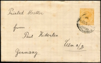 Lot 1338:1902 2d Orange PSSA #EN3 1905 (Jun 29) use from Perth to Germany sent at printed matter double-rate, unsealed flap, Ulm arrival backstamp, some mild spotting. Rare usage.