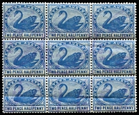 Lot 1376 [2 of 3]:1885-1907 Blocks of Nine with 1885-93 2d grey SG #96 (few nibbed perfs) cancelled with 'POST OFFICE/MARBLE BAR' double-oval datestamps in violet, 1896 2d bright yellow SG #113 inter-pane block and 2½d blue SG #114 with indistinct rubber oval datestamps. (3 items)