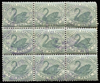 Lot 1376 [3 of 3]:1885-1907 Blocks of Nine with 1885-93 2d grey SG #96 (few nibbed perfs) cancelled with 'POST OFFICE/MARBLE BAR' double-oval datestamps in violet, 1896 2d bright yellow SG #113 inter-pane block and 2½d blue SG #114 with indistinct rubber oval datestamps. (3 items)