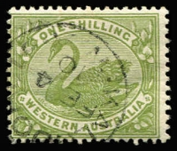 Lot 1377:1898-1907 Wmk W Crown A 1/- olive-green Watermark inverted SG #116w, fine used, Cat £170.