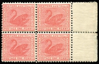 Lot 1332:1905-12 Wmk Crown/Double-Lined A Perf 11 1d carmine-pink SG #151 mint block of 4, two units MUH, Cat £200+.