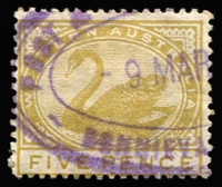 Lot 1343:Bonnievale: (A3) part-srike of Type ORS 2 'POST & [TELEGRAPH OFFICE]/9MAR[?]/BONNIEVA[LE W.A.]' oval rubber datestamp on 5d Swan.  PO 23/12/1897; RO 17/2/1912; closed 13/11/1914.