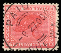 Lot 1344:Cue: (A2) fine large-part strike of Type PdX28 (?) 'PAID/27OC0(?)/CUE/WA' on 1d Swan. PMI illustrates an archival strike.  Renamed from Cue's Find PO c.1894.
