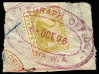 Lot 1345:Kurawa: (A2) very fine & almost complete 'TELEGRAPH OFFICE/6-OCT96/KURAWA W.A.' oval rubber datestamp in magenta tying 5d Swan to small piece. Not seen by us before. Rare.  Renamed from Broad Arrow PO c.1896; renamed Broad Arrow PO c.1898.