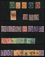 Lot 371 [3 of 3]:Selection on Hagners with Queensland 1d Chalons x2, 2d x4, 3d, 6d x3 & 1/- x2, Large Chalons 2/- & 2/6d x2, Sidefaces to 2/- brown and 2/- turquoise-green x3, perf 'OS to 9d x3 & 1/- x2; Victoria with Rouletted 6d QOT, 5/- red & blue Laureates x2, 2/6d Stamp duty postally used; lesser selection from NSW, SA & WA (possible postmark interest). (200+)