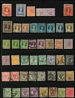 Lot 371 [1 of 3]:Selection on Hagners with Queensland 1d Chalons x2, 2d x4, 3d, 6d x3 & 1/- x2, Large Chalons 2/- & 2/6d x2, Sidefaces to 2/- brown and 2/- turquoise-green x3, perf 'OS to 9d x3 & 1/- x2; Victoria with Rouletted 6d QOT, 5/- red & blue Laureates x2, 2/6d Stamp duty postally used; lesser selection from NSW, SA & WA (possible postmark interest). (200+)