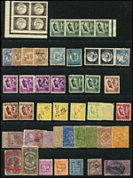Lot 372 [2 of 2]:Array on Hagners: with Queensland QV 10/- Long Type; SA 'P&R' 10/- Long Tom fiscally used, Tasmania low denomination Numeral, Platypus & Tas Tiger Stamp Duty types with a couple of multiples; Victoria Stamp Duty to £1; also NSW 10/- Long Type opt 'POSTAGE' in blue postally used (thin). (100 approx)