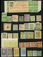 Lot 372 [1 of 2]:Array on Hagners: with Queensland QV 10/- Long Type; SA 'P&R' 10/- Long Tom fiscally used, Tasmania low denomination Numeral, Platypus & Tas Tiger Stamp Duty types with a couple of multiples; Victoria Stamp Duty to £1; also NSW 10/- Long Type opt 'POSTAGE' in blue postally used (thin). (100 approx)