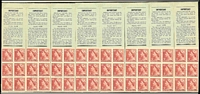 Lot 158 [1 of 11]:1927-63 Selection comprising 1920 Canberra booklets x3 and a booklet pane of eight; 1956 3/6d stapled booklet with waxed interleaves x2; 1950-52 KGVI 3d scarlet booklet pane of 54 stamps, with gutters, (issued for booklet use); 1953-56 wmk Cof A 3/6d reconstruction of eight booklets with wax interleaving (panel A); 1957-59 4/- stapled booklet (no stitch holes) with waxed interleaves; 1959-63 5/- reconstruction of eight 1960 front covers and eight panes of six (panel K) stamps; condition a tad variable. (qty)
