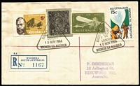 Lot 584 [1 of 4]:1966 Woomera Rocket Range 'Europa 1' Woomera registered covers for 1966 Rocket launch plus the 1969 F-8 satellite launch, both with Woomera, South Australia registration labels. (2)