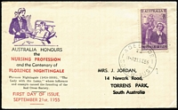 Lot 952 [2 of 2]:Bergen 1955 3½d Nursing & 3½d Cobb FDCs, each with matching addresses printed by Bergen. (2)