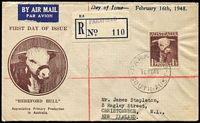 Lot 480 [1 of 2]:Bergen 1948 1/3d Bull tied by Parafield '16FE48' FD datestamp to Bodin cachet envelope embellished with Bergen hand-printed inscription, Parafield (SA) provisional registration label. Rare.