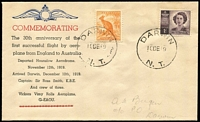 Lot 923:Bergen 1949 Australia-England Flight Anniversary cover with hand-printed cachet, Darwin '10DE49' datestamps.