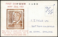 Lot 924 [1 of 2]:Bergen 1951 2½d Chocolate KGVI tied by Sth Kilkerran '23MY51' FD datestamp to image side on ANA DC4 Skymaster postcard, Bergen hand-printed FDC cachet on reverse. Only one other example recorded.