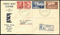 Lot 494 [1 of 2]:Erskine 1951 Federation set tied by Beecroft '1MY51' FD datestamp to registered FDC with generic cachet.