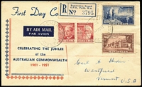 Lot 957 [1 of 2]:Mitchell 1951 Federation set tied by Perth '1MY51' FD datestamp to registered FDC with rare cachet type.