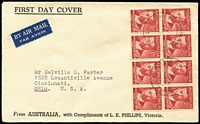 Lot 533 [2 of 2]:Phillips 1948 2½d Farrer and 2½d Mueller blocks of 8 on matching FDCs cancelled by Richmond North '12MY48' FDI datestamps, the Farrer cover being the earliest recorded use for this design. Both with typed addresses to USA. Exceptionally scarce duo. (2)