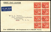 Lot 533 [1 of 2]:Phillips 1948 2½d Farrer and 2½d Mueller blocks of 8 on matching FDCs cancelled by Richmond North '12MY48' FDI datestamps, the Farrer cover being the earliest recorded use for this design. Both with typed addresses to USA. Exceptionally scarce duo. (2)