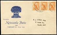 Lot 552:Stace 1946 Newcastle Show illustrated cover with ½d Roo x3 tied by '   W   /21FE46/NSW AUST' Relief datestamp, being the second day of the show.