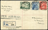 "Lot 980 [1 of 2]:1929 Forrest-Ceduna registered FFC with mss registration label and Ceduna backstamp, pencil notation on reverse ""3 Flown"", possibly added by Alec Rosenblum, to whom the cover is addressed."