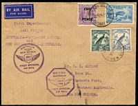 Lot 1025:1934 Australia - New Guinea - Australia AAMC #395 with Australia 5d on 4½d KGV plus 3d Bridge tied by Sydney '24JY34' datestamp for outgoing flight, and New Guinea 3d & 5d Undated Birds tied by Lae '30JY34' for return flight. Fine condition.