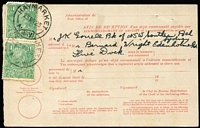 Lot 963 [3 of 9]:1920-31 KGV Covers Selection including 1923 Perth Office of Titles registered to Nedlands with 5d Perf 'OS', 1923 PPC to Belgium with KGV 1½d green tied to view side (Sandgate beach) by Brisbane datestamp, 1923 Avis De Reception card with 1½d green pair tied Haymarket (NSW) datestamp; several 3d rate covers to USA, etc. Condition variable. (9)