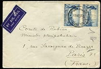 Lot 406:1934 3d Victoria Centenary Perf 10½ pair tied by Sydney Air Mail datestamp to 1934 (Aug 2) cover to France.